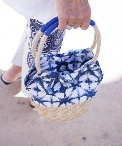 Bolso Ikat Natural y Azul