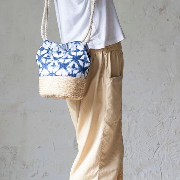 Bolso Korai Natural y Azul Largo