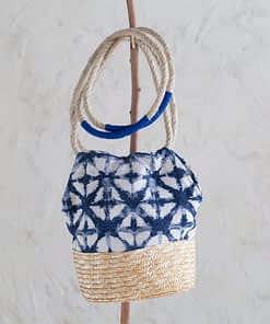 Bolso Ikat Natural y Azul Largo