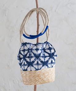 Bolso Ikat Natural y Azul Largo